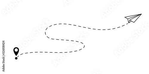 Obraz Airplane path with dashed flight route path trace. Vector paper plane with start point pin - fototapety do salonu