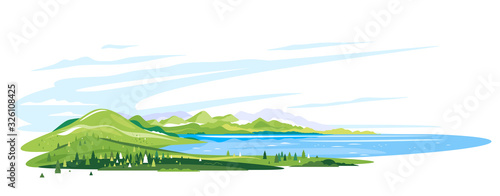Fotografia Lake near the green mountains with spruce forest around on white background, nat