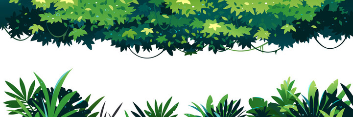 Horizontal set of green leaves with lianas placed on top isolated, jungle plants on ground isolated, decorative composition of jungle plants, dense vegetation of the jungle