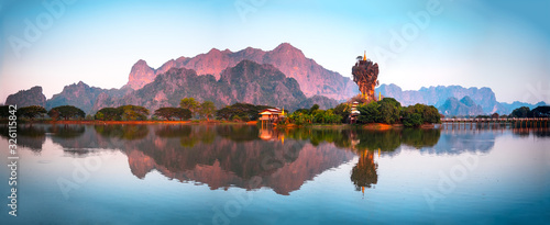 Amazing Buddhist Pagoda in Hpa-An, Myanmar Wallpaper Mural