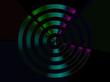 Abstrakte Kunst mit metallic  Effet - Kreis, Propeller in den Farben blau grün lila türkis auf schwarzem Hintergrund