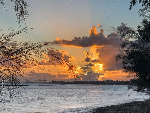 Fotografie, Obraz stunning sunset over the sea