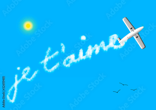 Déclaration d'amour dans le ciel un avion écrit je t'aime avec son sillage de fu Canvas Print
