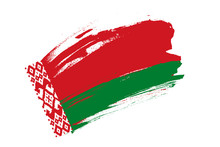 Flag Of Republic Of Belarus. Belarus  Red-and-green National Flag Brush Concept. Horizontal  Vector Illustration Isolated On White Background.