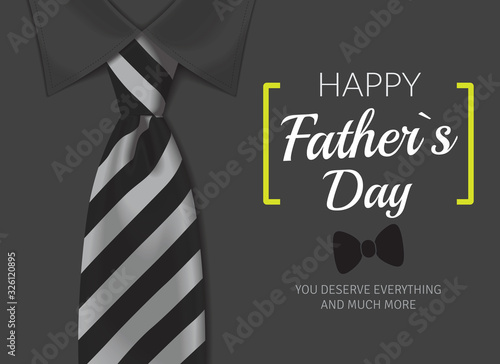 Fototapeta Happy father`s day greeting card.  Fathers day background with calligraphic text with black and white tie and white shirt obraz na płótnie