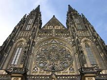 Prague, Czech Repub., St. Vitus Cathedral, West Facade Detail