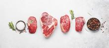 Variety Of Raw Beef Steaks