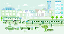 Umweltfreundliche Stadt Mit Um...