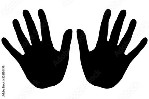 Fotografie, Tablou Hand prints black on white