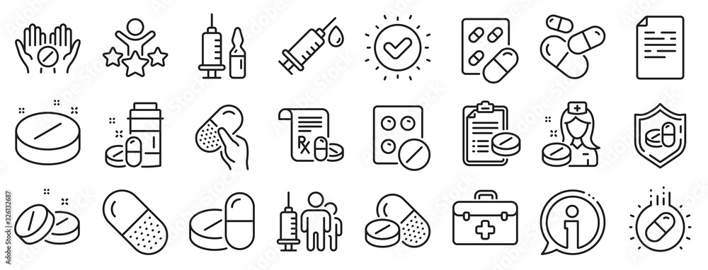 Fototapeta Healthcare, Prescription and Pill signs. Medical drugs line icons. Pharmacy drugs, medical nurse, recipe pill icons. Antibiotic capsule, syringe vaccination, medicine cure. Vector