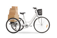 Studio Shot Of A Tricycle With Pile Of Boxes