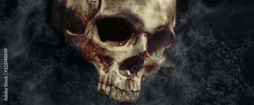 Photographie Skull of a dead man in on the ground