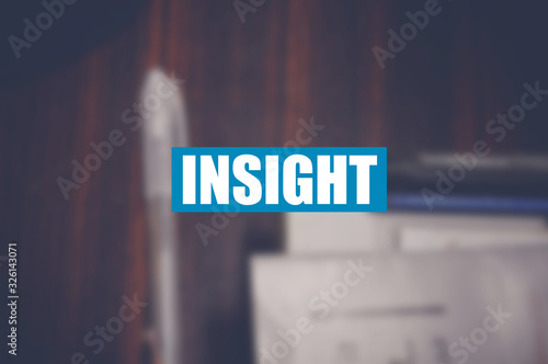 Insight word with business blurring background Wallpaper Mural