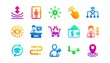 Timeline, Multichannel. Artificial intelligence, Balance and Refer friend icons. Classic icon set. Gradient patterns. Quality signs set. Vector