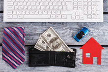Money, House And Car. Attributes Of Financially Succesful Man. Business Concept.