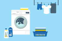 Laundry Service Room Vector Il...
