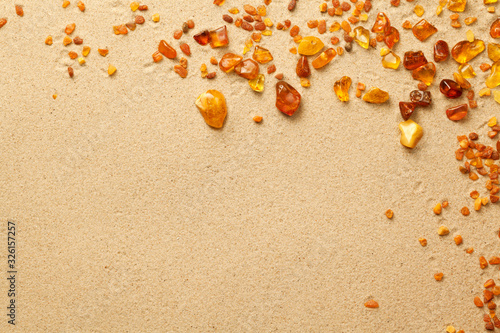 Tela Ambers On Sand Background