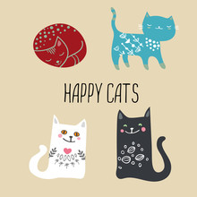 A Set Of Four Stylized Cats In...