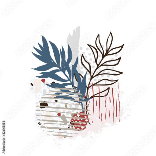 Fototapeta Hand drawn abstract floral background isolated on white. Vector obraz na płótnie