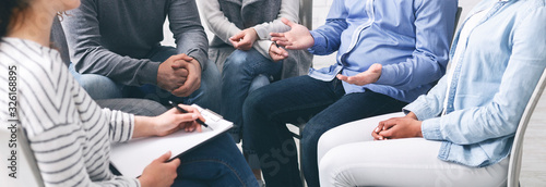 Fototapeta Trust circle. Group of unrecognizable people sitting together at therapy session obraz