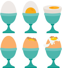 Set Of Different Eggs On Egg Cup