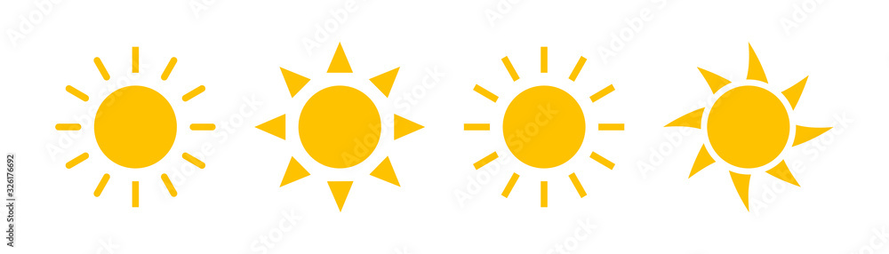 Fototapeta Sun icons vector isolated on white background. Shine sun ray set. Sunshine vector sign. Sunset icon collection. Abstract art.