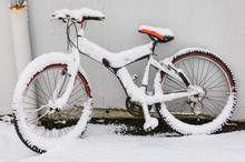 Snow-covered Bicycle Leaning A...
