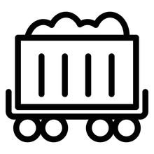 Minecart Icon. Coal Mine Trolley, Wagon Sign. Mine Chariot Symbol.