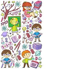 Fototapeta Do szkoły Back to school. Vector icons and elements for little children, college, online courses. Doodle style, kids drawing