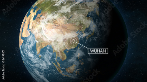 Obraz 3D Illustration depicting the location of Wuhan, the capital of province Hubei, China, on a globe seen from space. Wuhan is known for the 2019 and 2020 coronavirus outbreak. - fototapety do salonu