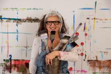 Smiling Older Woman, Proud Art...