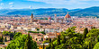 canvas print picture - Panoramic view of the old town, Cathedral of Santa Maria del Fiore, Brunelleschi's Dome, Giotto's bell tower, in the historic center of Florence, Tuscany, Italy, a UNESCO World Heritage Site