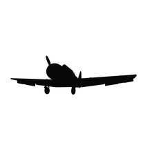 Vintage Military Air Plane Silhouette Vector