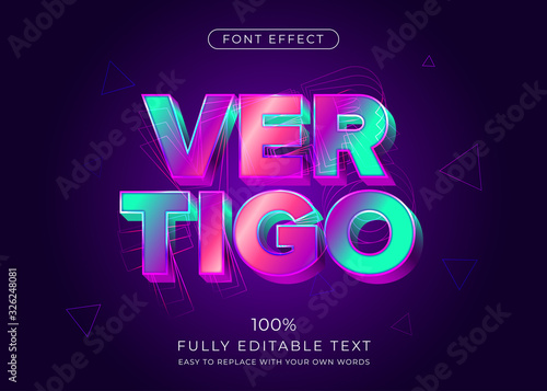 Fotomural Modern vibrant 3d text effect. Editable font style