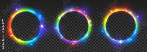 Obraz na płótnie Set of bright rainbow neon circles with transparent effects - vector shiny round