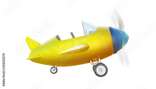 Retro cute yellow and blue two seat airplane Wallpaper Mural