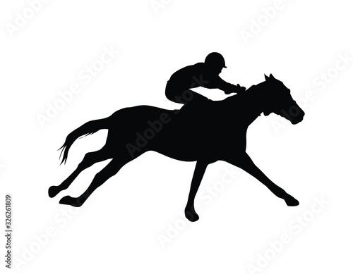 Carta da parati Silhouette racing horse with jockey on a white background