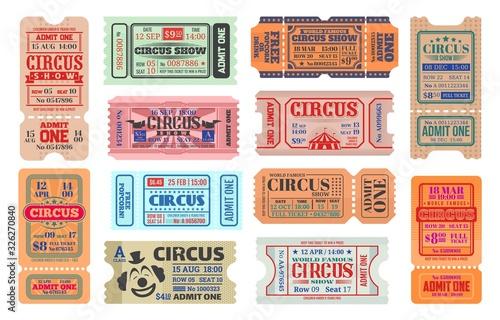 Circus carnival show vector retro tickets Wallpaper Mural