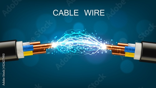 Electrical cable with copper wires, power equipment of energy industry Canvas Print