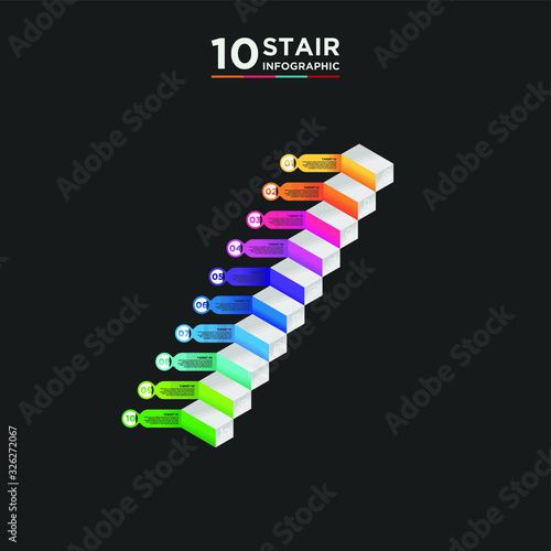 10 stair step timeline infographic element Canvas Print