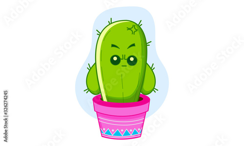 Vector cartoon illustration of angry cactus in the pot Canvas Print