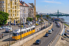 Tram On The Road In Budapest, ...