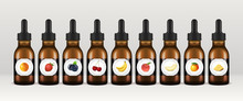 Vape Liquid Bottles. Set Of Vector E-liquid Droppers. Various Fruit Flavors, Orange, Strawberry, Blueberry, Cherry, Banana, Peach, Melon, Mango And Pineapple.
