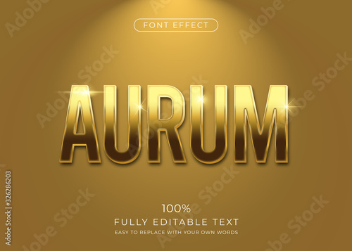 Golden text effect. Editable font style Fototapet