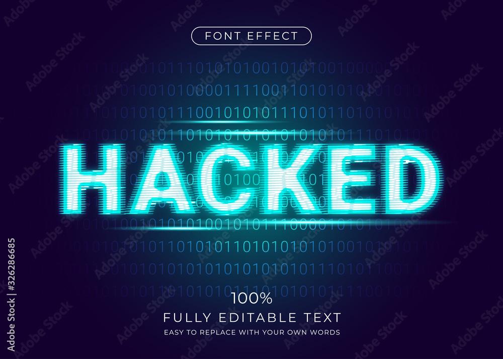 Fototapeta Hacker glitch effect with digital binary code background. Editable font style