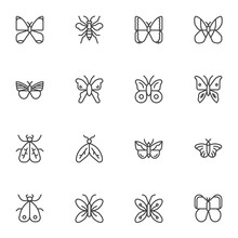 Butterfly Line Icons Set. Line...