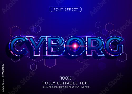 Obraz Futuristic Technology text effect. Editable font style - fototapety do salonu