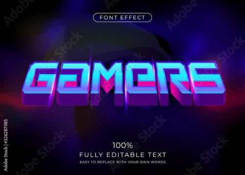 Fotografía 3d futuristic gamers text effect. Editable font style