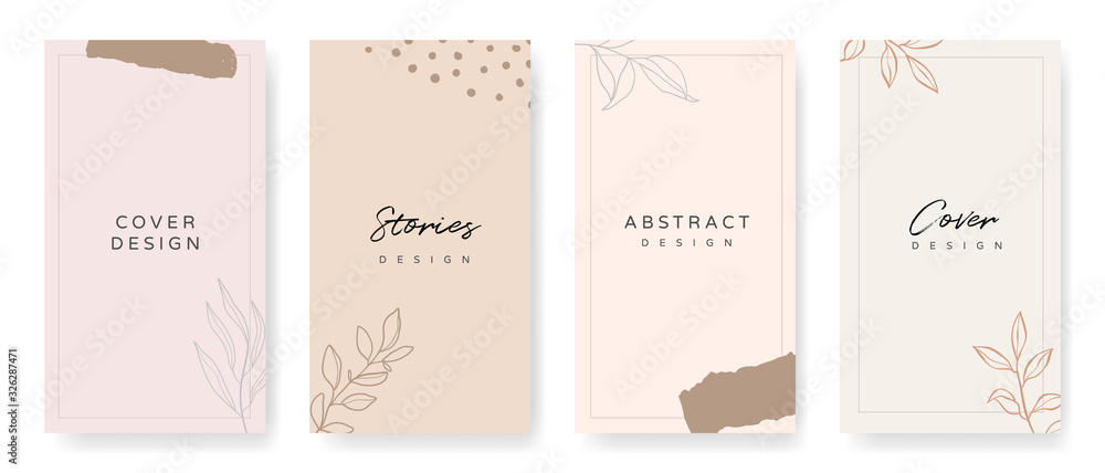 Fototapeta Social media stories and post creative Vector set. Background template with copy space for text and images Design byabstract colored shapes,  line arts , Tropical leaves  warm color of the earth tone