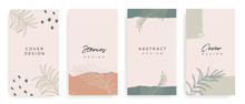 Social Media Stories And Post Creative Vector Set. Background Template With Copy Space For Text And Images Design Byabstract Colored Shapes,  Line Arts , Tropical Leaves  Warm Color Of The Earth Tone